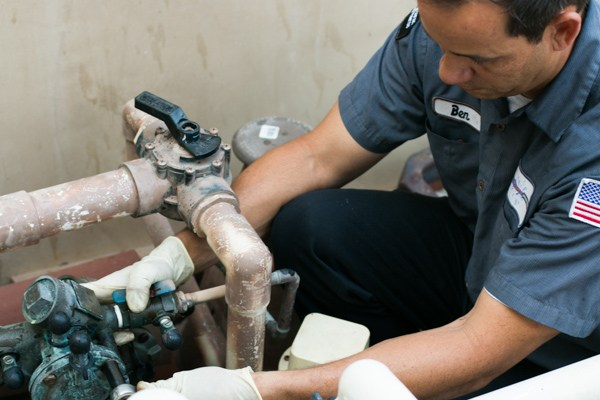 Performing an annual backflow testing at a commercial property in Anaheim, California